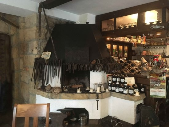 Oybin, Germany: The old blacksmiths forge in the restaurant.