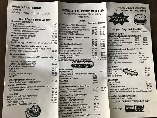 Country Kitchen On Wheels Rocky Hill Restaurant Reviews