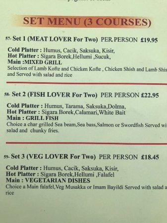 Ewell, UK: Our menu