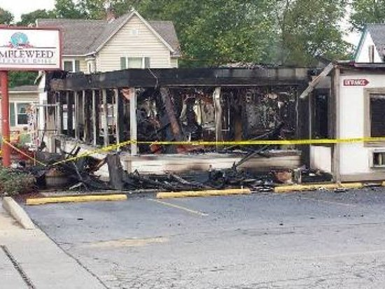 Salem, IN: The morning after the fire that ended the life of our Tumbleweed Restaurant.