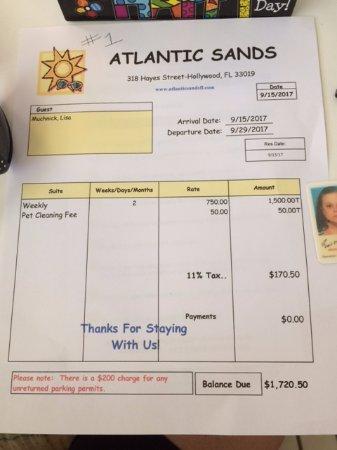 Atlantic Sands Beach Suites: first invoice