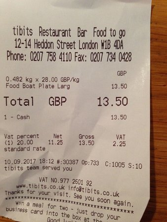 tibits: The receipt for the meal I ate. Very reasonable! (drink not included)