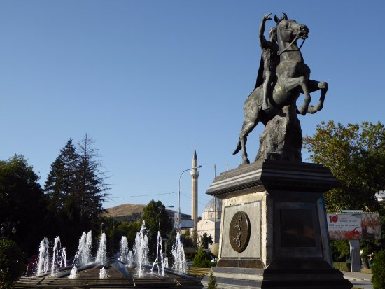 Robust, meaningful statue, a champion of Macedonia
