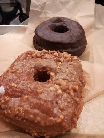 Doughnut Plant: Peanut butter squared doughnut and chocolate chocolate