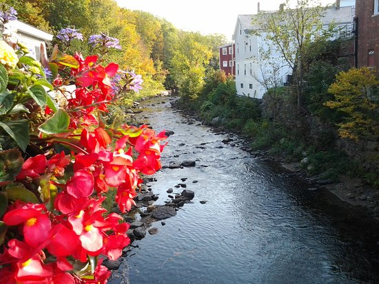Wilmington, VT: The red mill is in the background along the stream in this photo.