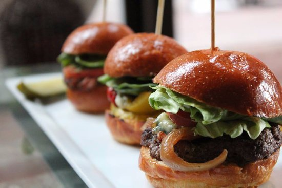Saint Felix: Sliders your choice of Beef, Ahi Tuna, Grilled Veggie, Fried Chicken, or Braised Beef