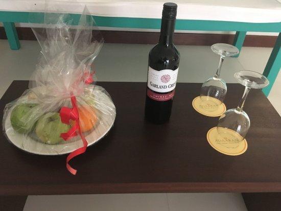 Adaaran Select Hudhuranfushi: fruit & Shiraz awaiting our arrival