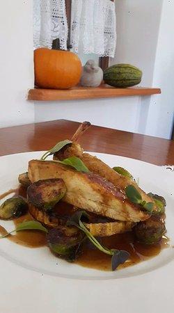 Kurczak kukurydziany z pieczoną dynią, brukselka, cydr :)