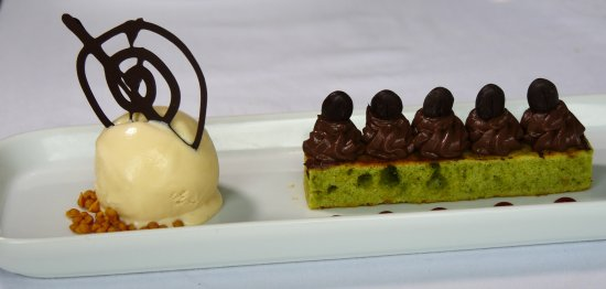 South Molton, UK: Pistachio Financier with chocolate ganache, coffee beans, salted caramel iced cream and toffee c