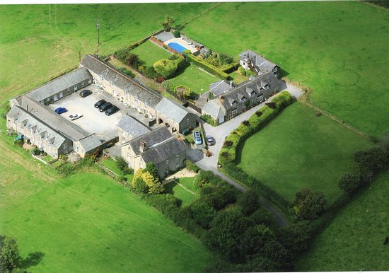 Ermington, UK: Arial view of WAYE FARM. THE GRANGE is on the right hand side