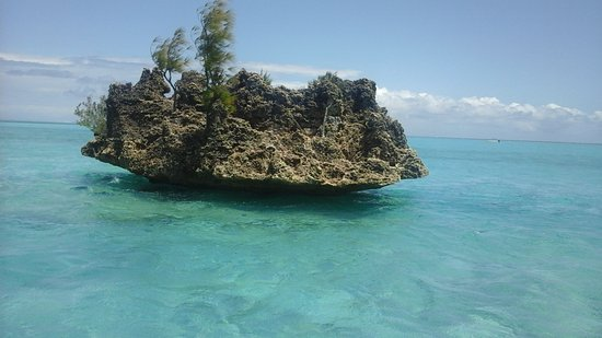 Crystal Rock: Rock appears to be floating on the water