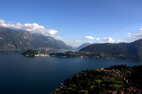 Griante, Italy: a view of Bellagio where the lake splits