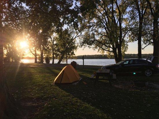 Hampton, IL: Sunset camping at Illiniwek
