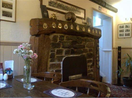 The White Horse Inn : View of fireplace inside Inn