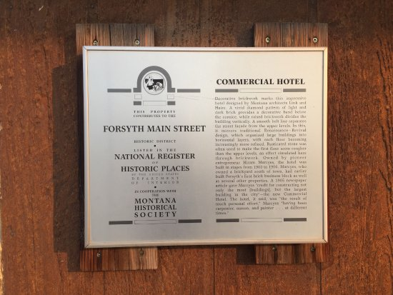 Forsyth, MT: Plaque on outside of Howdy Hotel