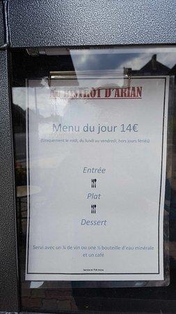 Tour-en-Sologne, France : the lunch menu in September 2017
