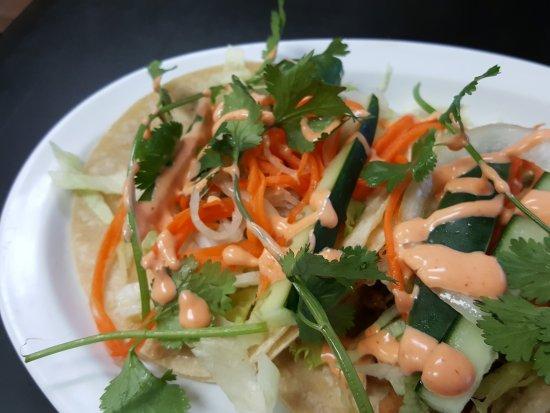 Bun Mee Phan: Pork bellly tacos, mango bubble tea, taro waffle