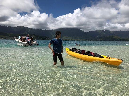 Kaneohe, Hawái: シーカヤックで到着!