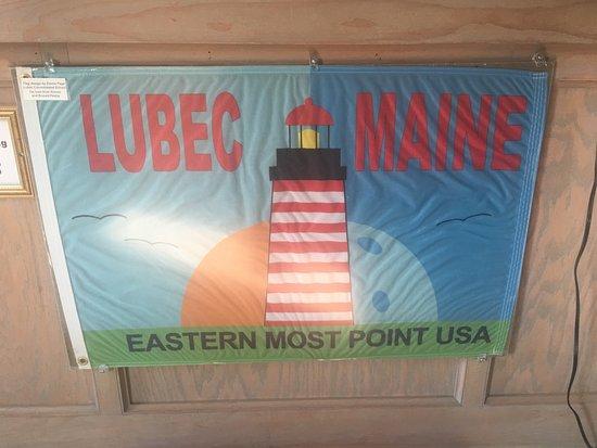 Lubec, ME: Flag inside the lighthouse