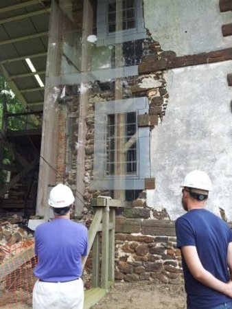 Warsaw, VA: Hard hat tour looking at the outside that has been started being glassed in.