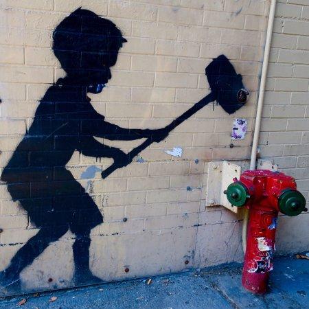 "Banksy's ""Hammer Boy"""