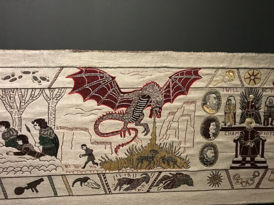 Ulster Museum: The tapestry showing one of the dragons.