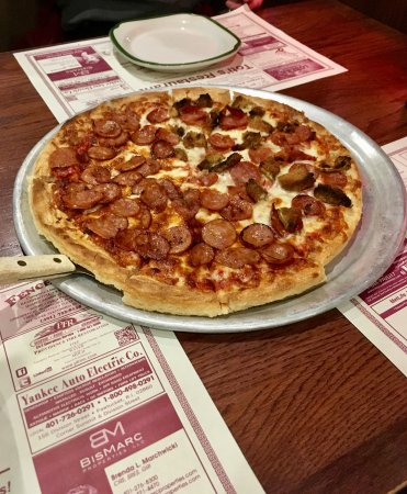 Seekonk, MA: This pizza was custom ordered: half linguica , had linguica and eggplant!