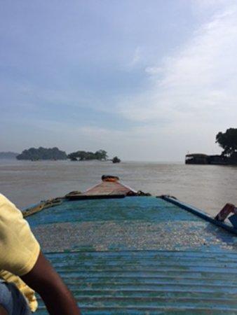 Assam, India: top of the motor boat watching Brahmaputa river