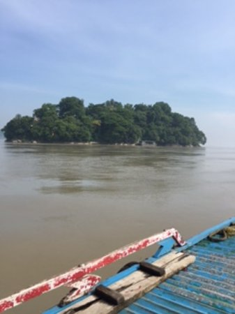Assam, India: Proceeding by a motor boat to Umanadh temple