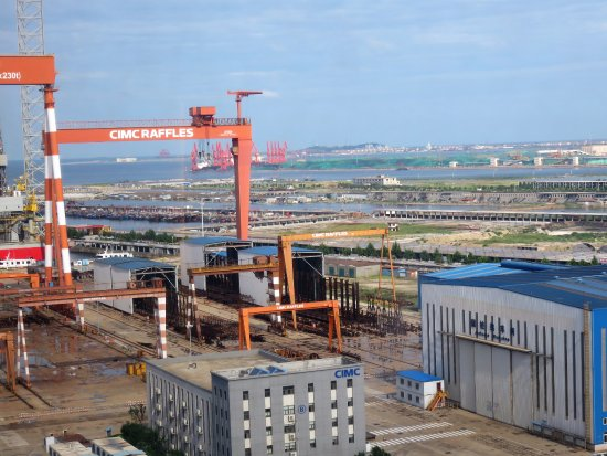 Longkou, China: View from room #1611 on the shipyard