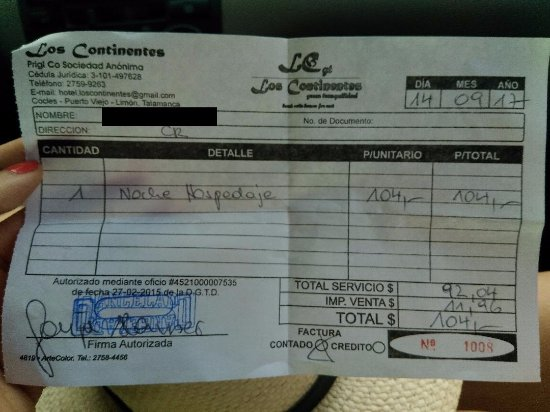 Los Continentes: the bill for the one night we stayed