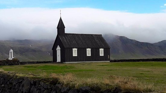 View of Budir Church located in the middle of a lava field