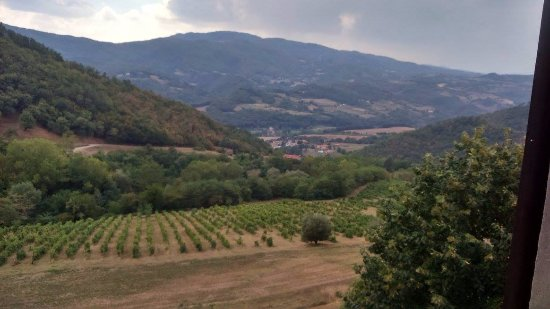 Dicomano, Italy: View from my room on a cloudy summer day