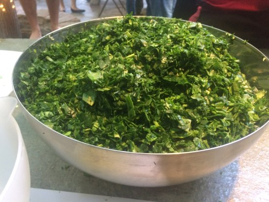 Otzias, Greece: Chopped herbs and spinach