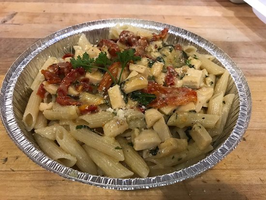 Front Royal, VA: Ziti garlic and oil with chicken and sundried tomato (TO GO)