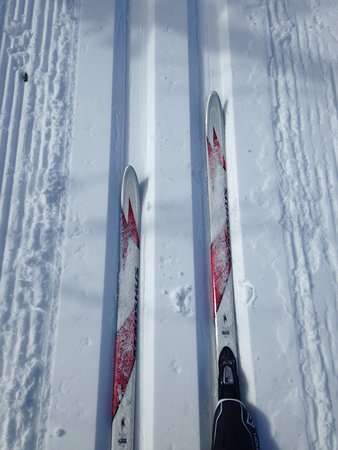 Falls Creek Nordic Centre: Selfie of my feet skiing in the tracks along the trail in the Nordic Bowl.  Had heaps of fun!