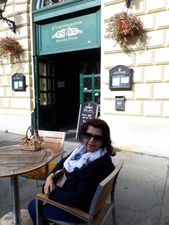 Outside seating at Flanagan's Irish Pub in Vienna, Austria