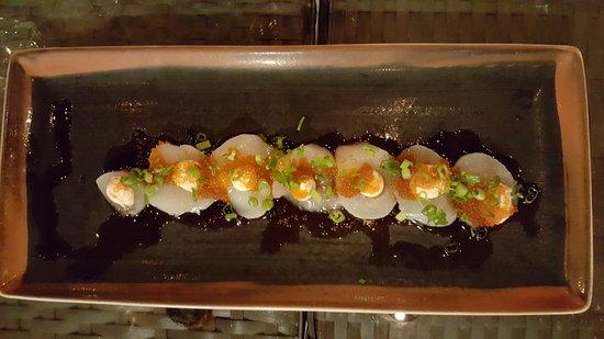 Nikai Sushi: Scallops, Flying Fish Roe, Scallions, and Aoili