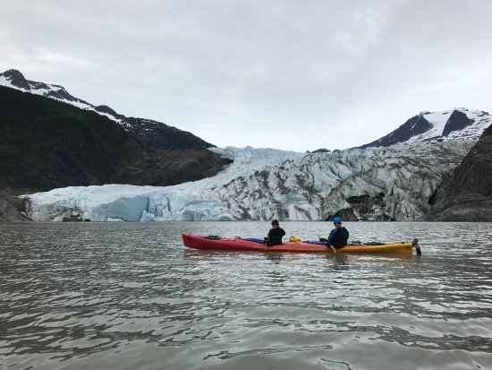 Above & Beyond Alaska: Our guide helped us get a great photo in front of the glacier.