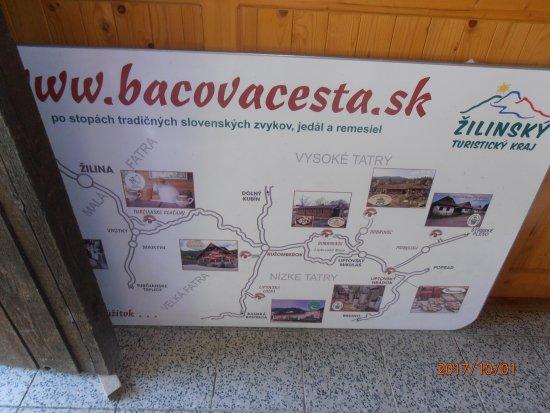 Pribylina, Slovensko: Pohľad na tabuľu bačovskej cesty  Žilinského kraja v objekte múzea