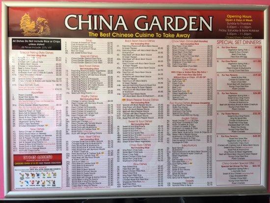 Menu Picture Of China Garden Wisbech Tripadvisor