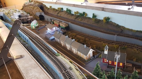 Merthyr Tydfil, UK: The little model railway at Brecon Mountain Railway's main station.