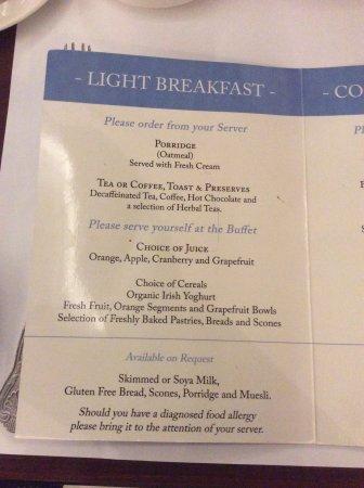 Park House Hotel: Breakfast Menu