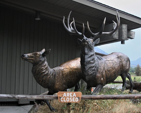 Jackson Hole, WY: Sculpture outside the visitor center.