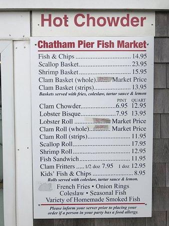 Chatham Pier Fish Market: Today's menu.....