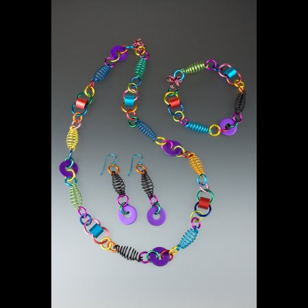 Salida, CO: Anodized aluminum jewelry by Carolyn Henderson of Artistic Beadwear.
