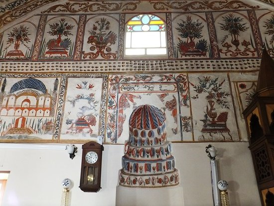 Kula, Turkey: The pulpit decorated with scenereies