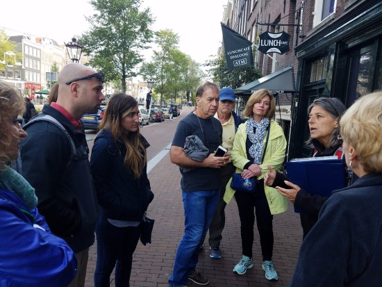Amsterdam in World War II Walking Tour: Emile with our small tour group in front of Anne Frank house