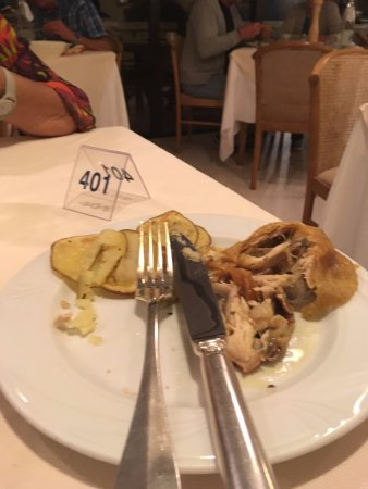 Hotel Andreaneri: Dried up chicken and potato's ! Yuk !