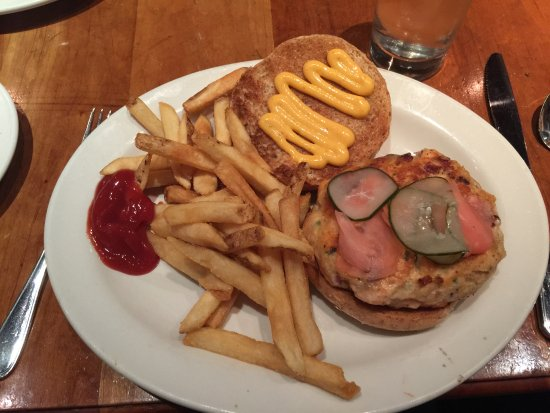 Clyde's At Mark Center: Salmon burger with fries